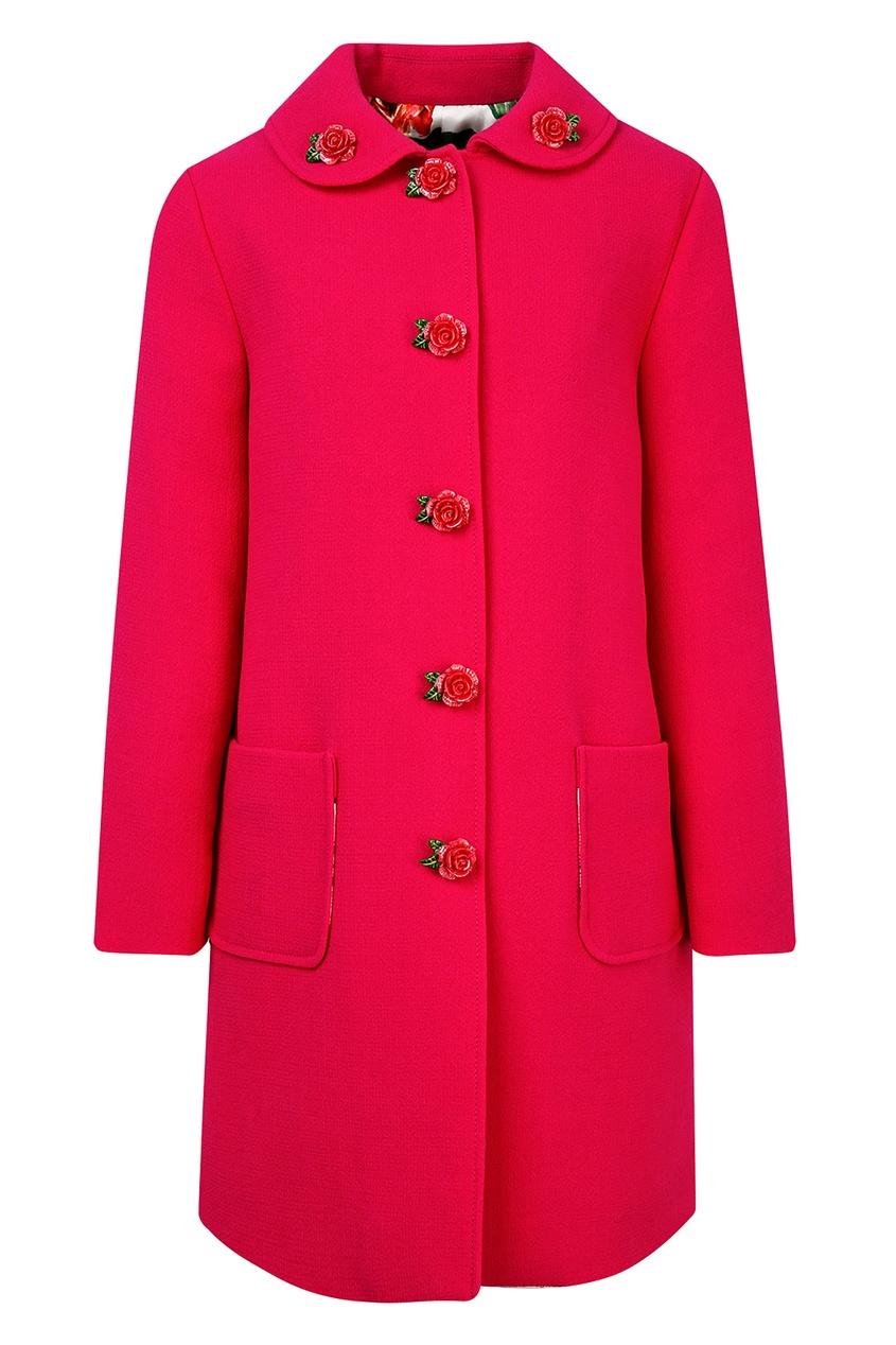 Купить Розовое пальто с фигурными пуговицами розового цвета