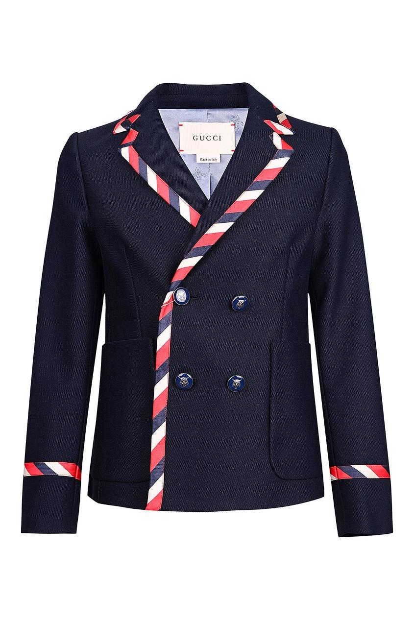 Хлопковый пиджак с цветной отделкой от Gucci Kids