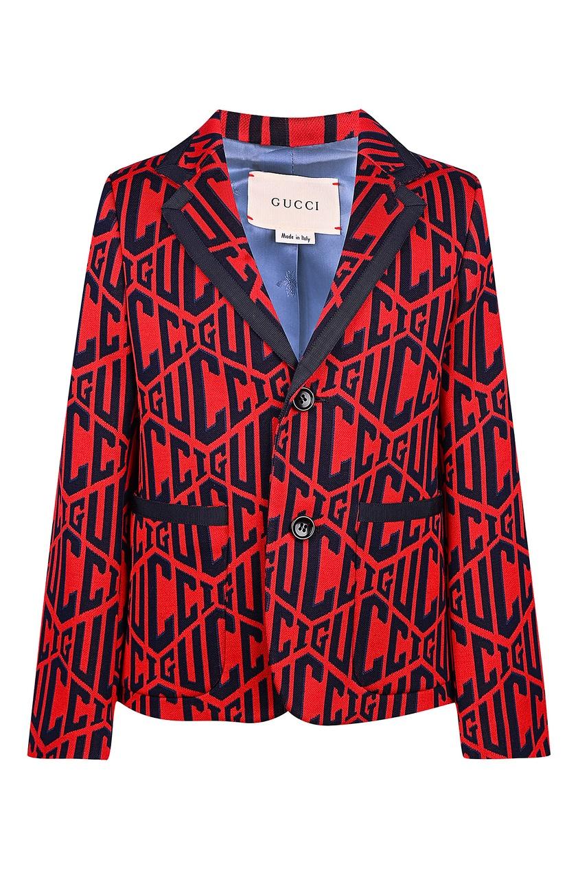 Красный пиджак с логотипами от Gucci Kids