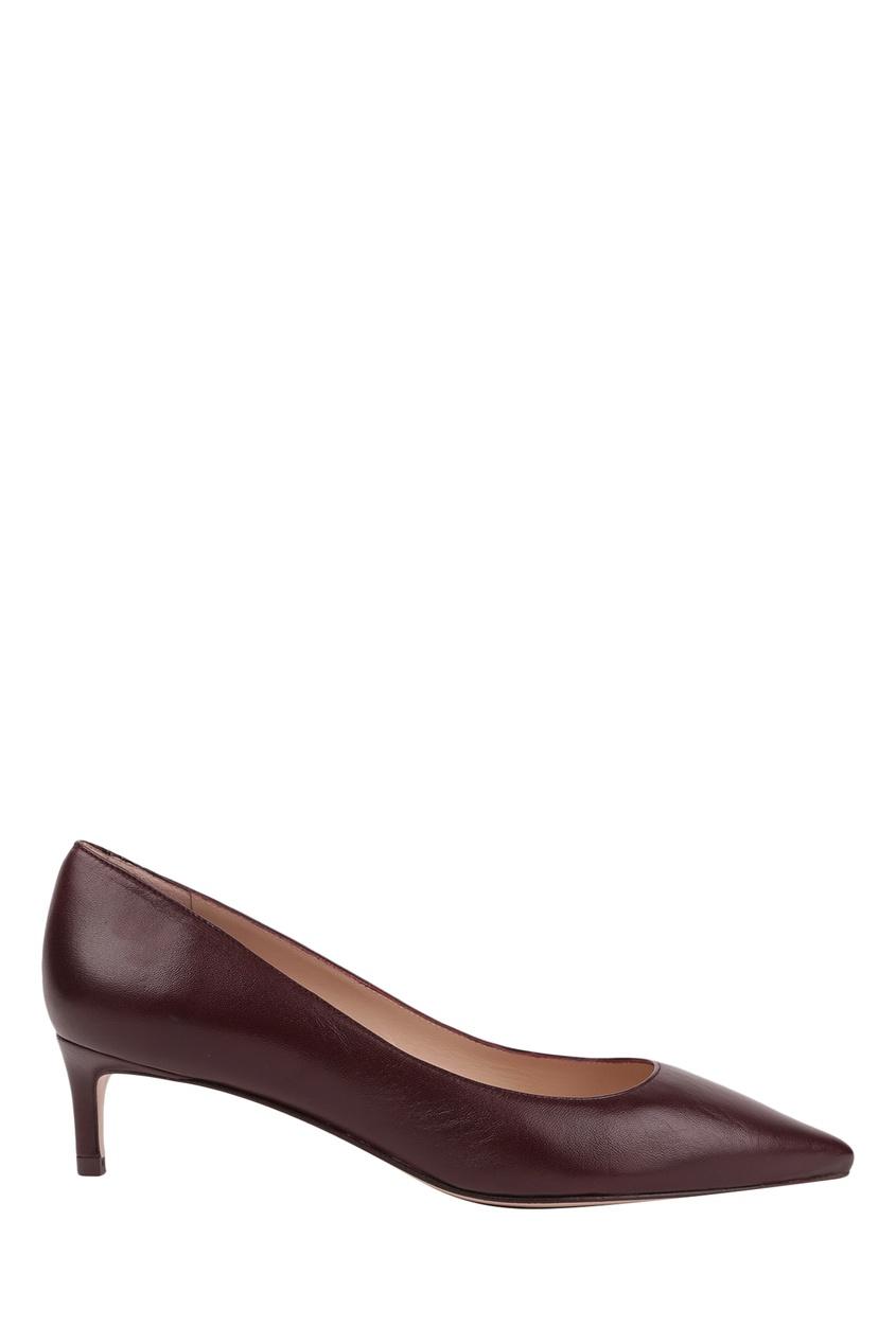 Бордовые туфли на низком каблуке Leigh 45 Stuart Weitzman
