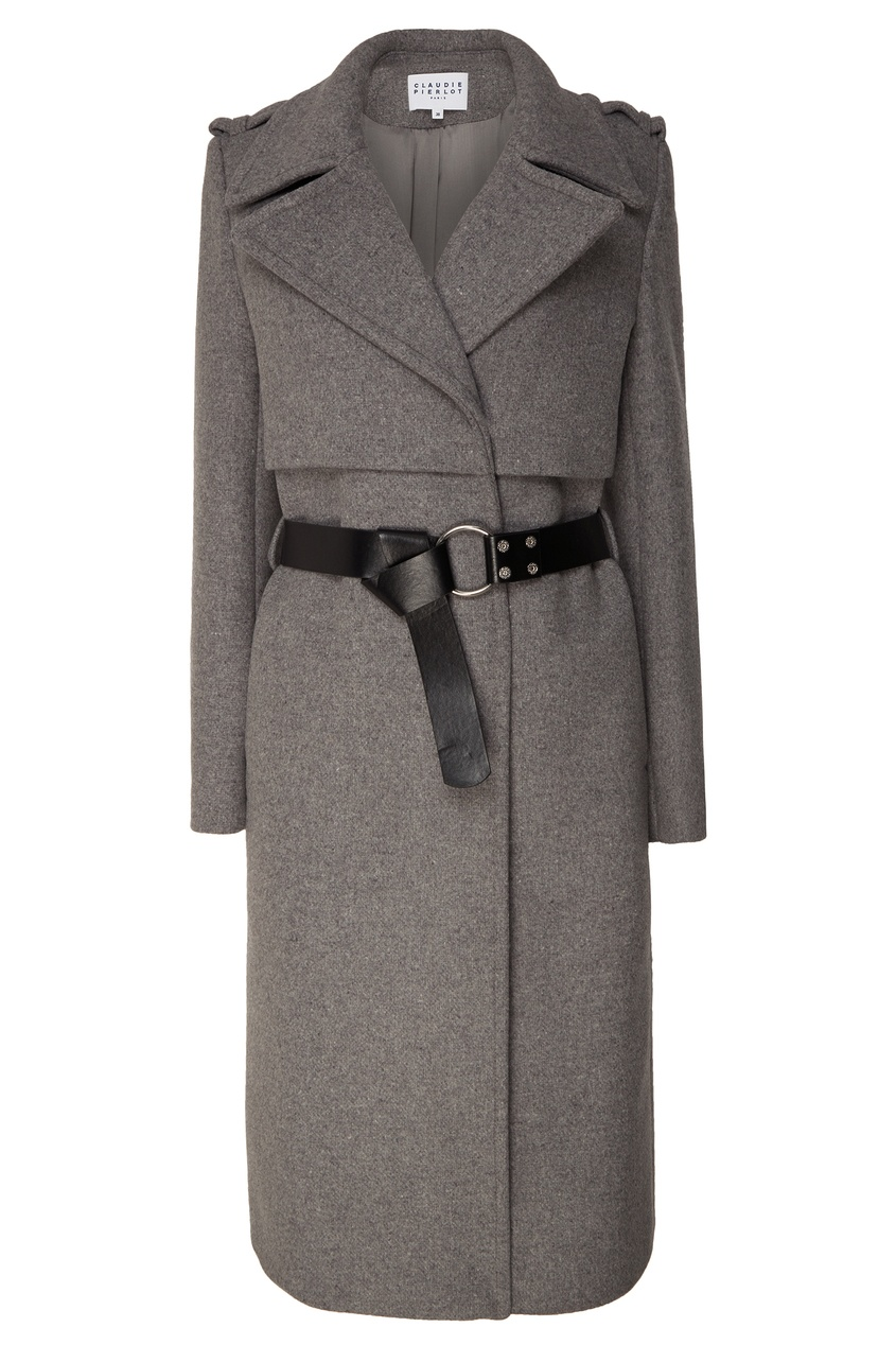 Купить со скидкой Серое пальто с поясом