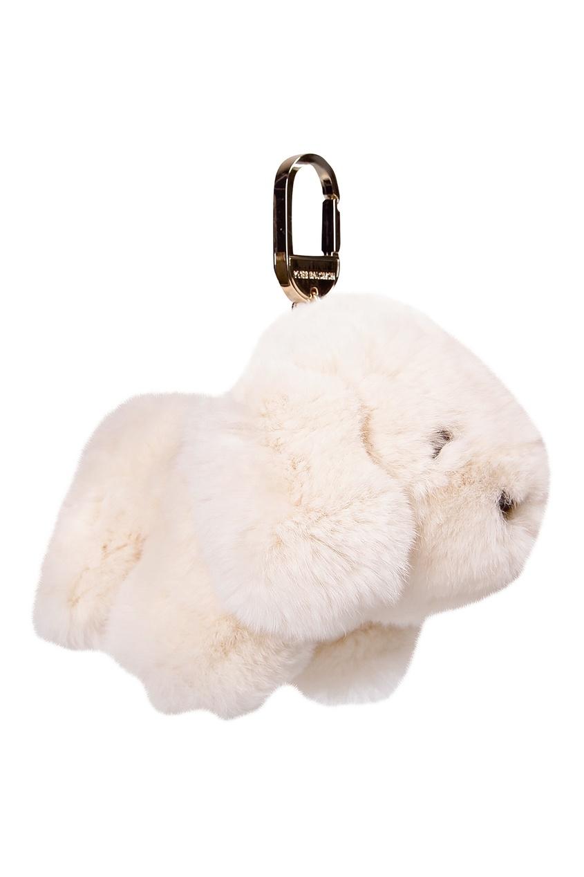Купить Брелок с белой меховой подвеской от Yves Salomon Kids бежевого цвета