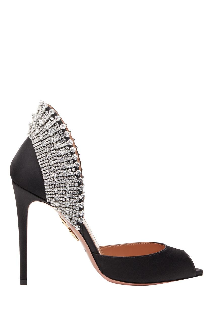 Черные туфли Concorde Crystal Peep Toe 105 Aquazzura