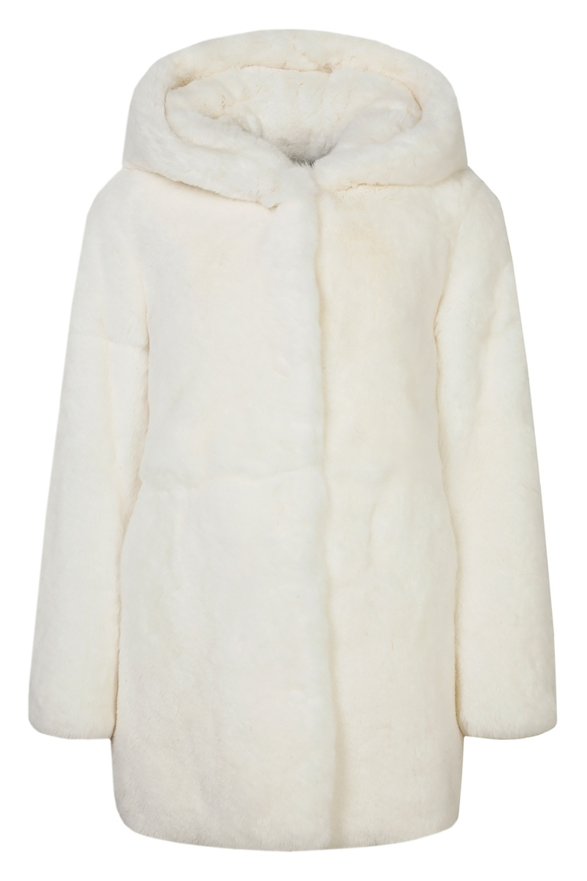 Купить Белая шуба с капюшоном от Yves Salomon Kids белого цвета