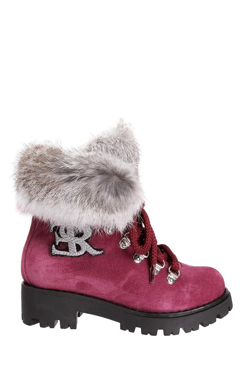 Купить Красные ботинки с мехом от Ermanno Scervino Children красного цвета