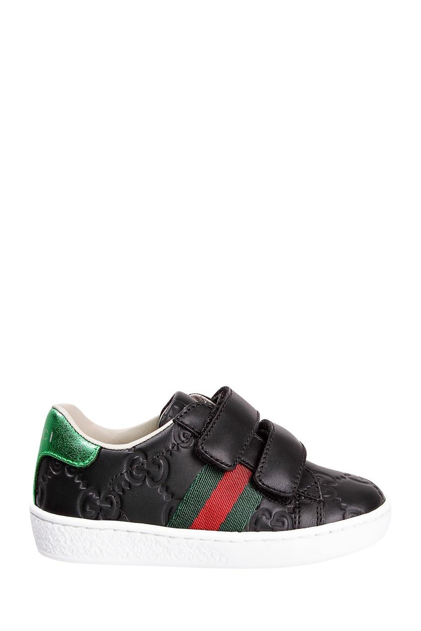 Купить Черные кроссовки с отделкой от Gucci Kids черного цвета