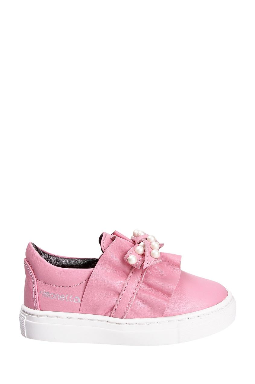 Розовые слипоны с бантом от Simonetta Mini