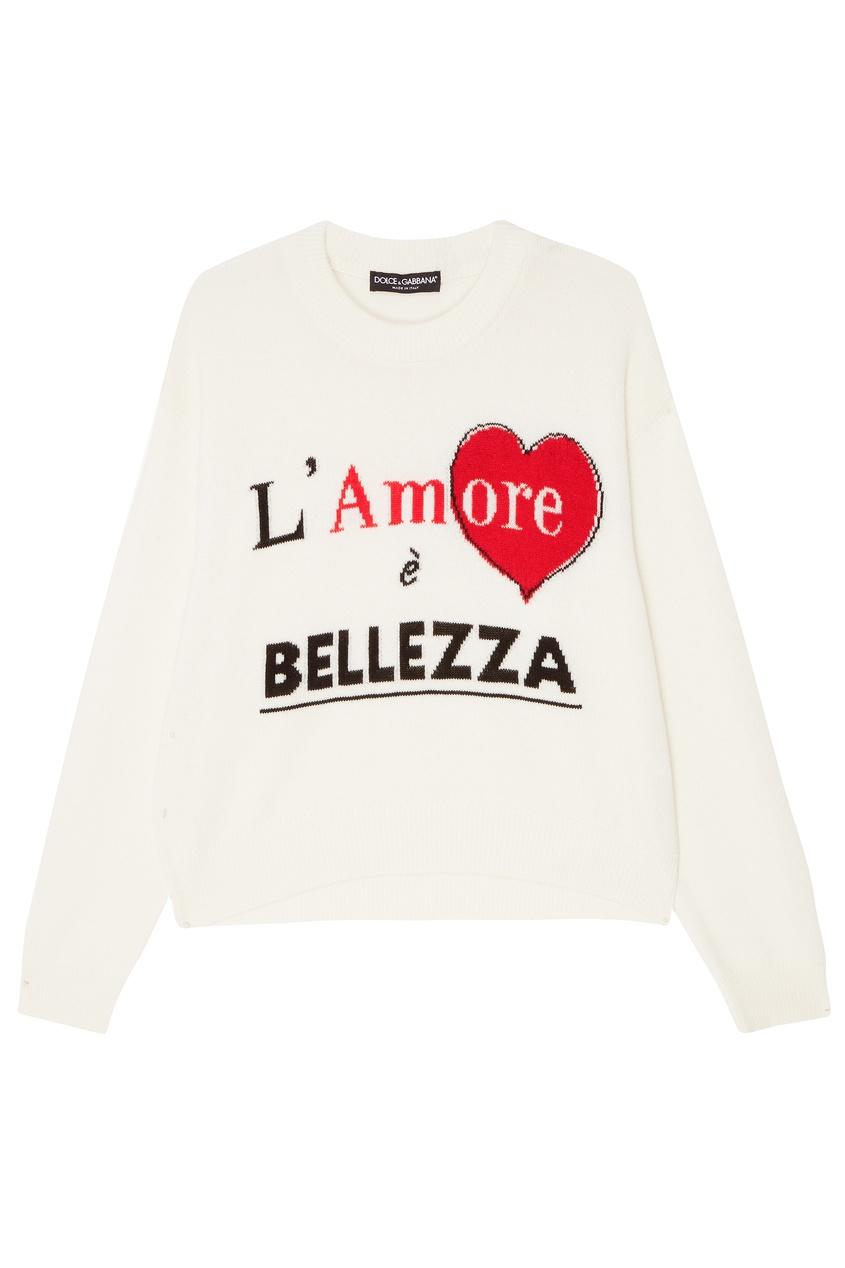 Белый джемпер с надписью Dolce&Gabbana