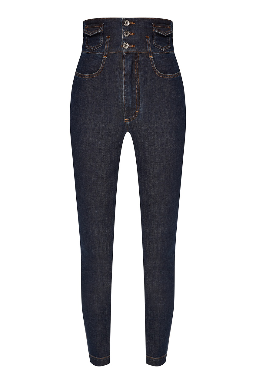 Купить со скидкой Зауженные джинсы с широким поясом