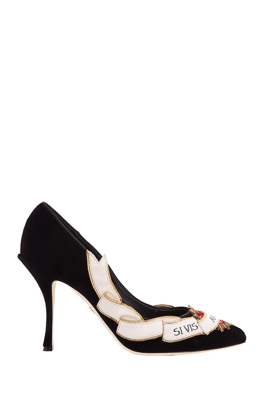 Черные туфли из бархата с аппликацией Lori Dolce&Gabbana