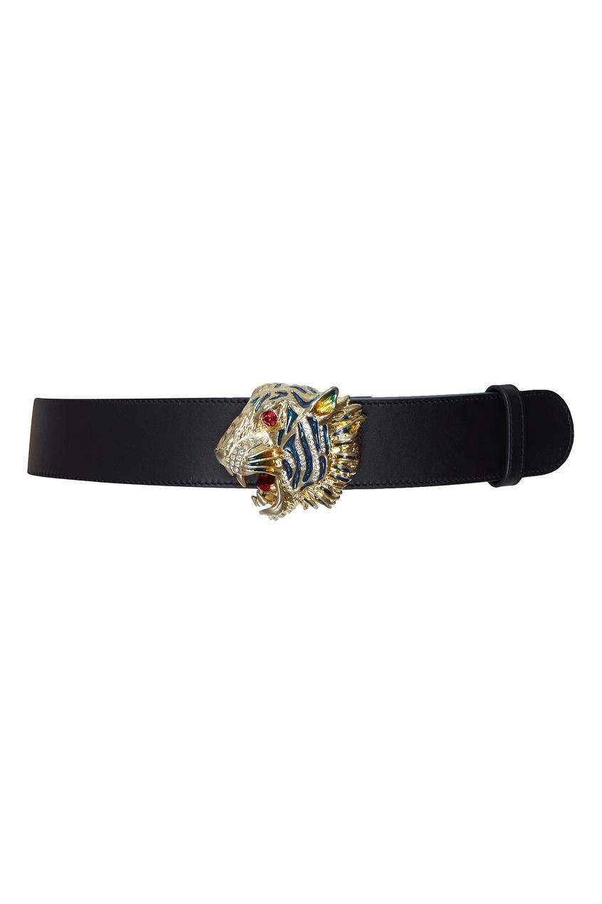 Черный ремень с фигурной пряжкой Gucci