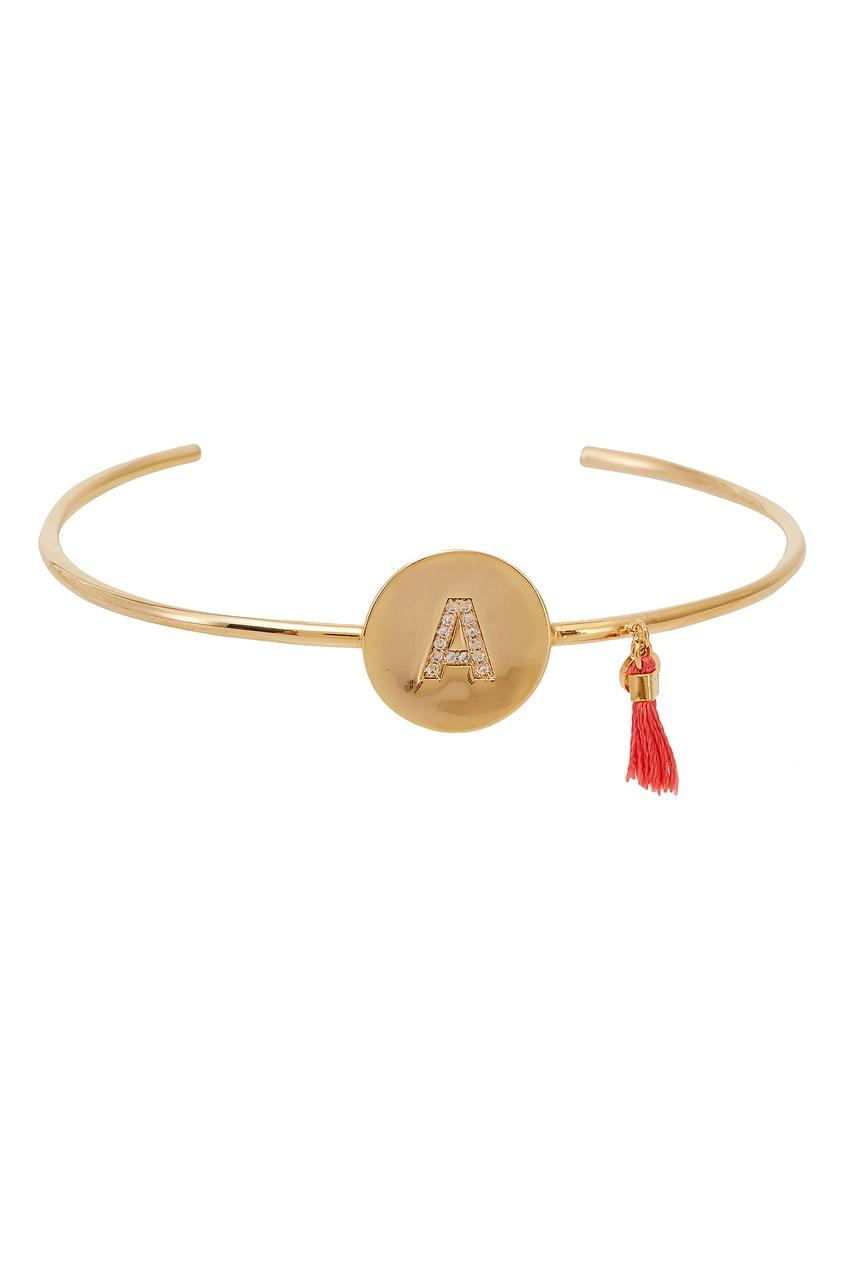 Золотистый браслет с буквой А от Unique