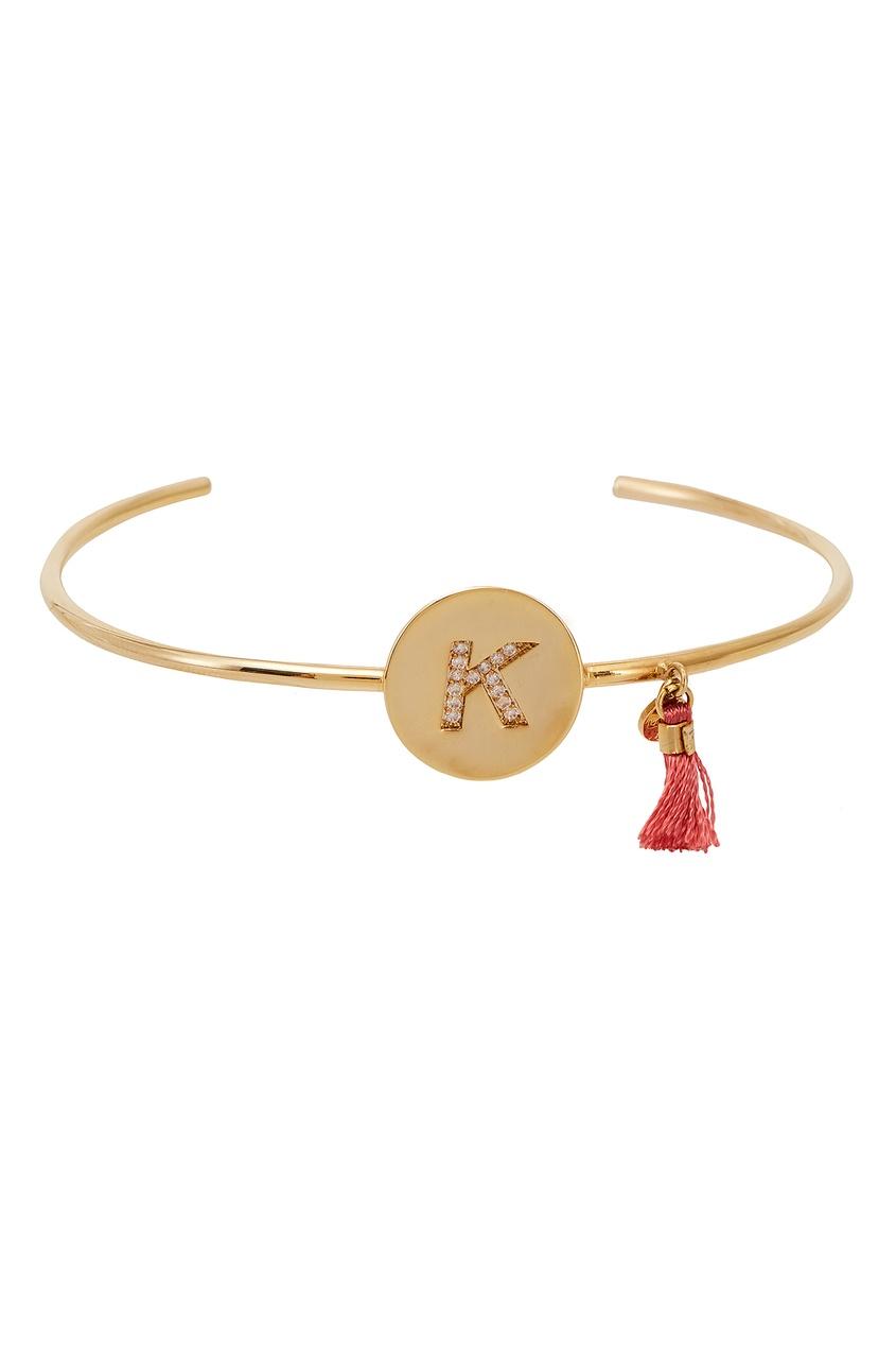 Золотистый браслет с буквой К от Unique