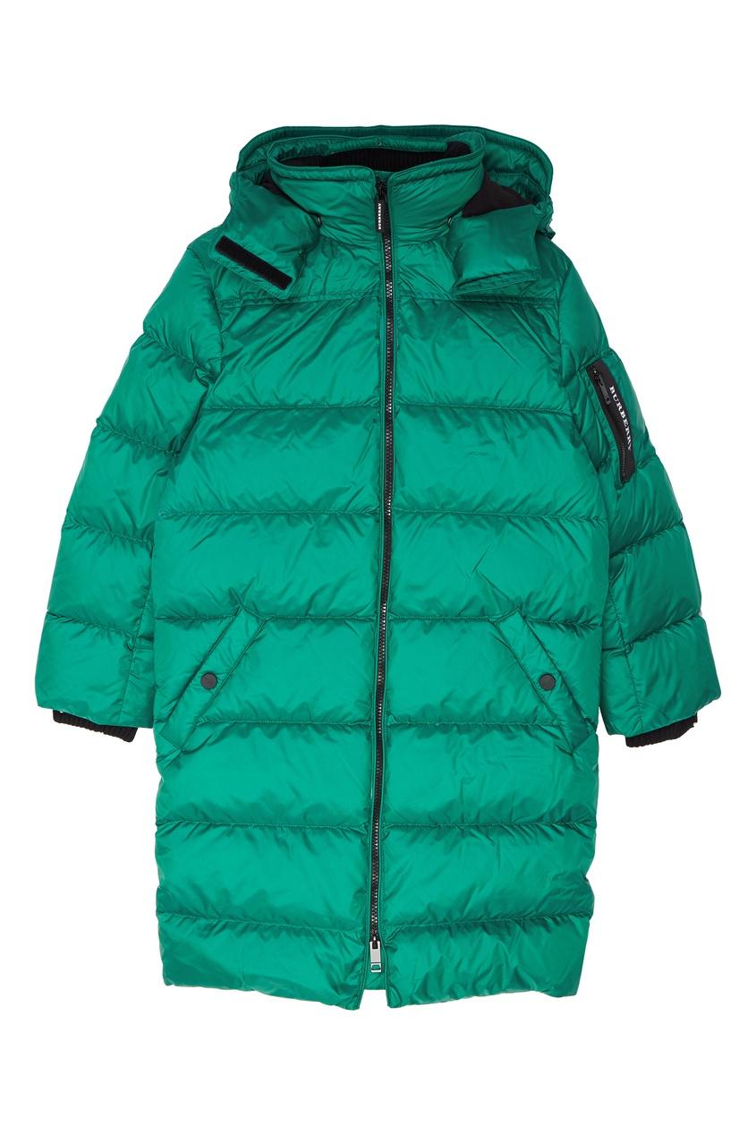 Зеленая стеганая куртка Burberry Kids