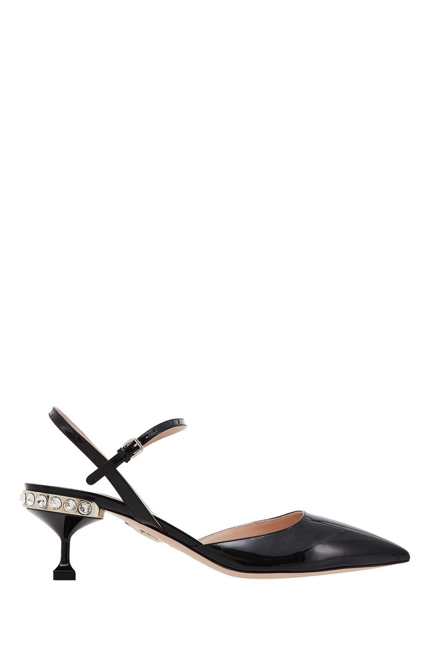 Лакированные туфли на каблуке с декором Miu Miu