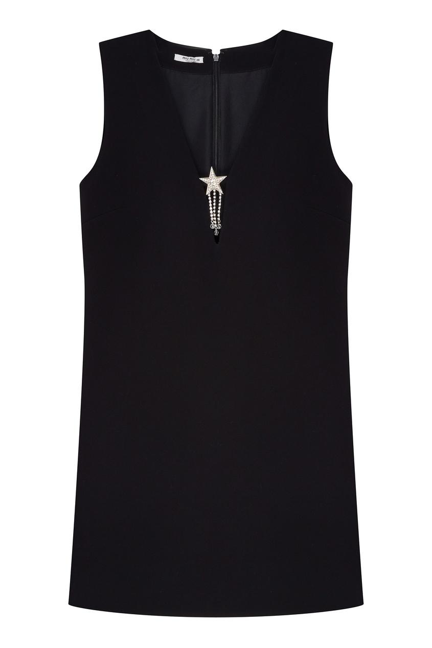 Черное мини-платье с декором от Miu Miu