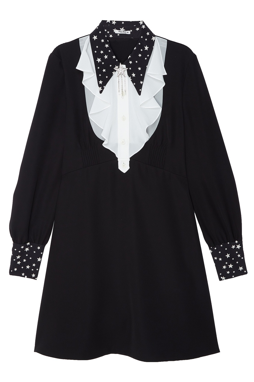 Черно-белое платье со звездами от Miu Miu