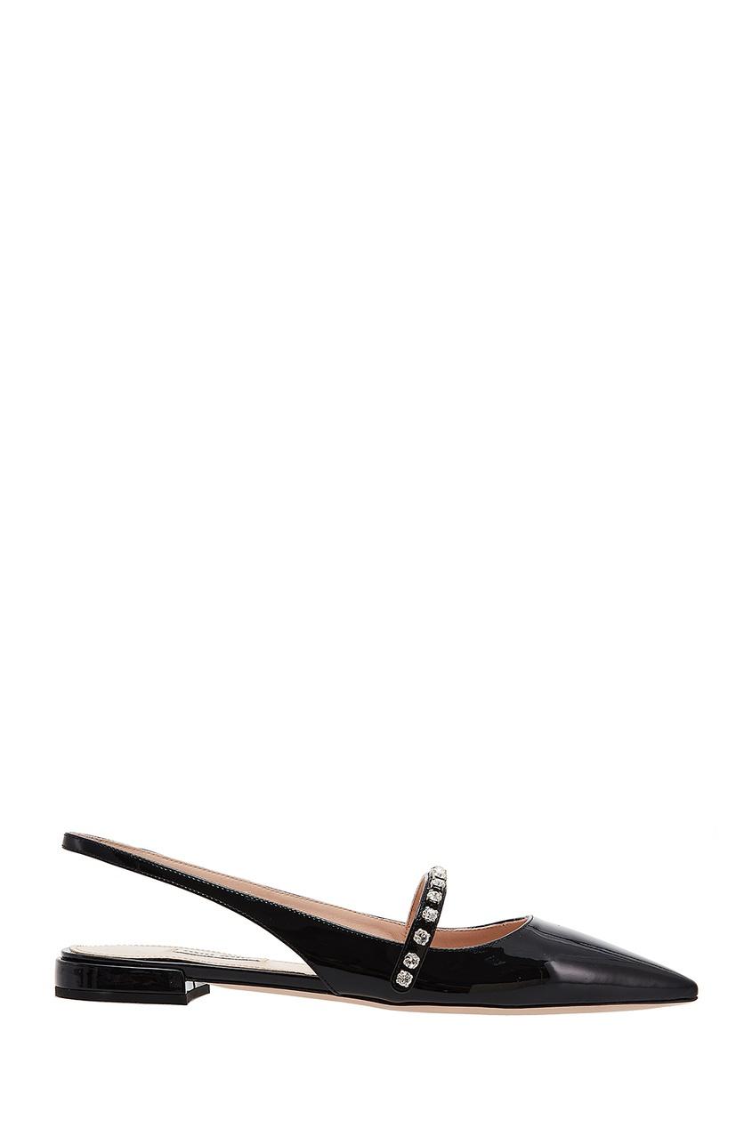 Черные слингбэки на низком каблуке Miu Miu