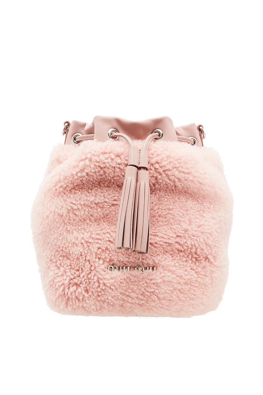 женская сумка miu miu, розовая