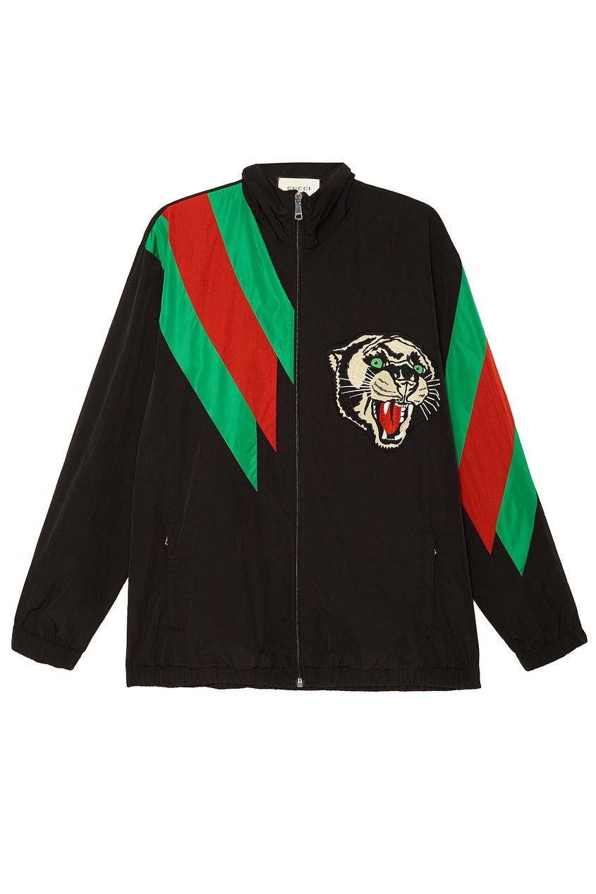 Купить Куртку с полосами Web и пантерой от Gucci Man цвет multicolor