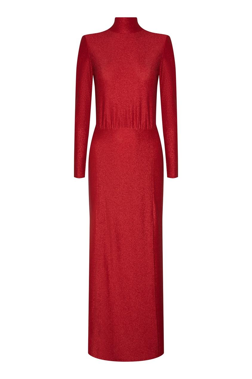 Красное платье макси с глиттером ЛИ-ЛУ