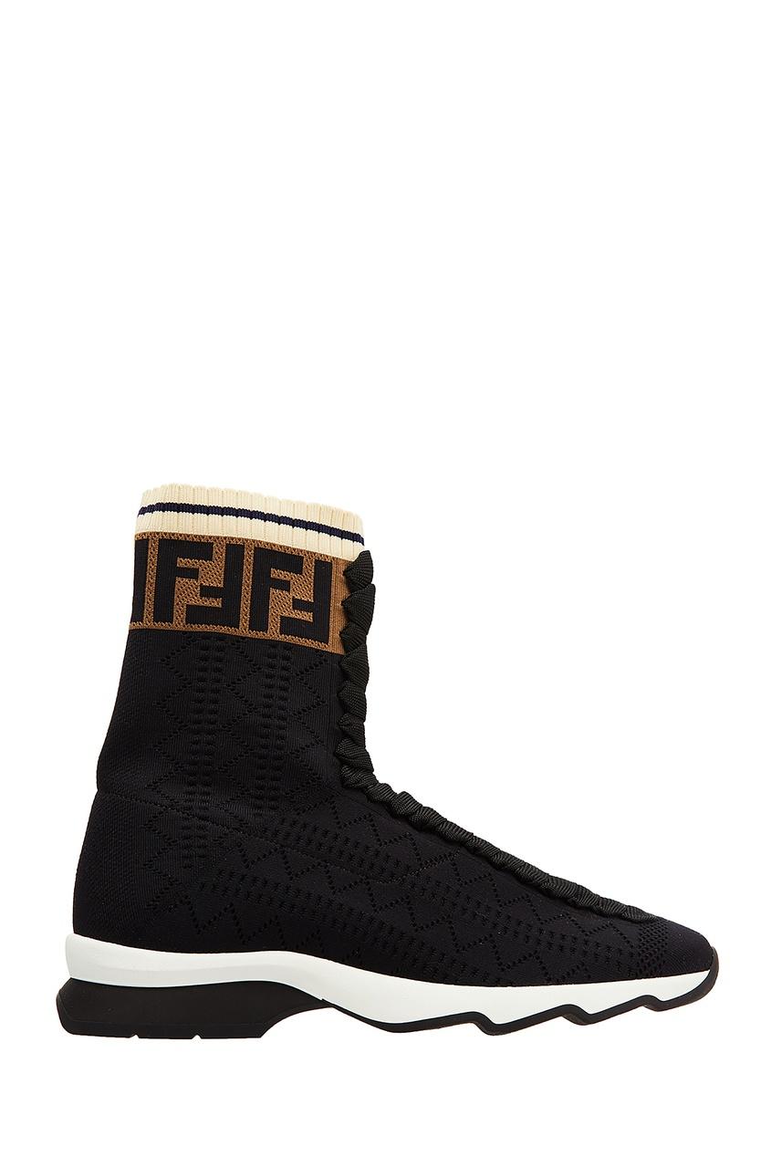 Фото - Черные текстильные ботинки от Fendi черного цвета