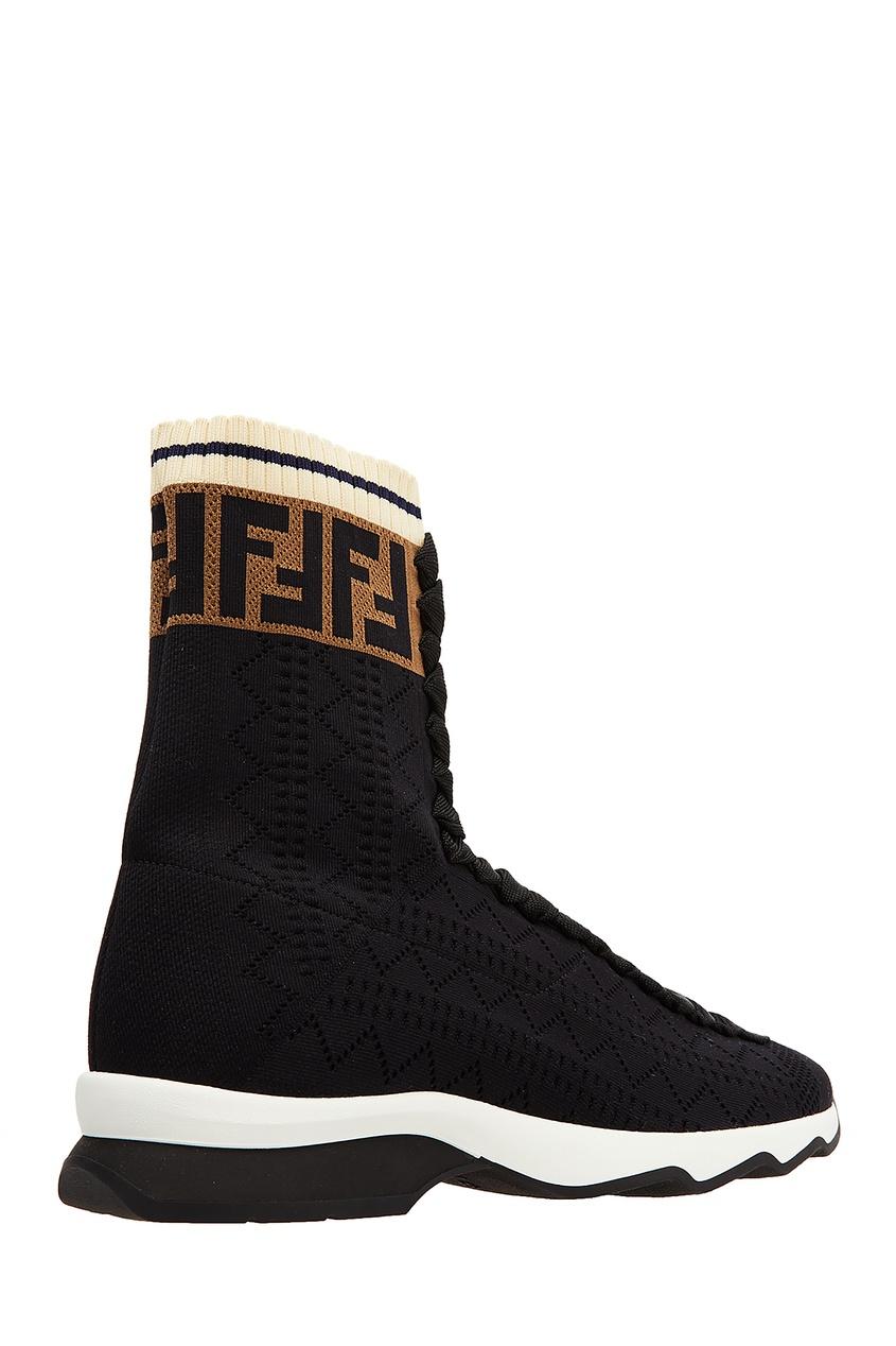 Фото 2 - Черные текстильные ботинки от Fendi черного цвета