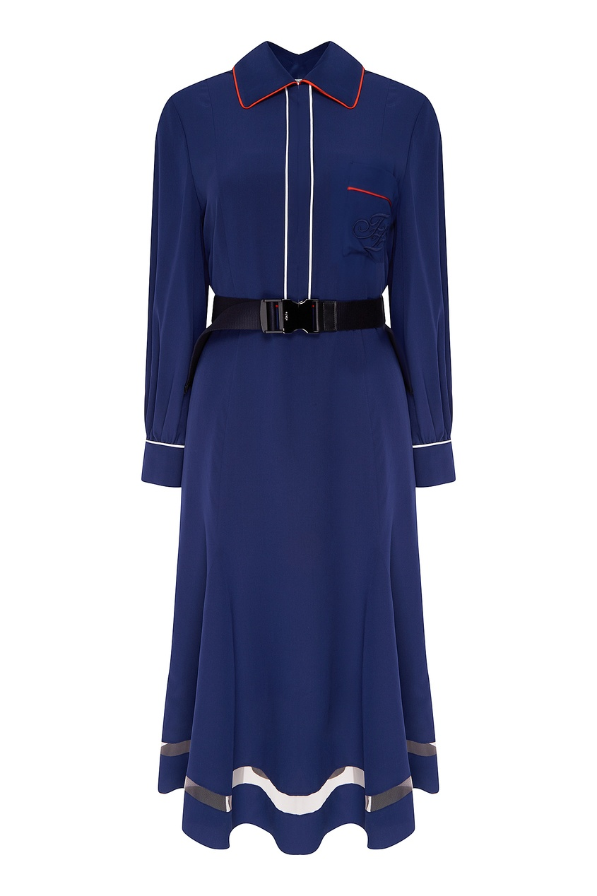 Фото - Синее платье-миди с отделкой от Fendi синего цвета