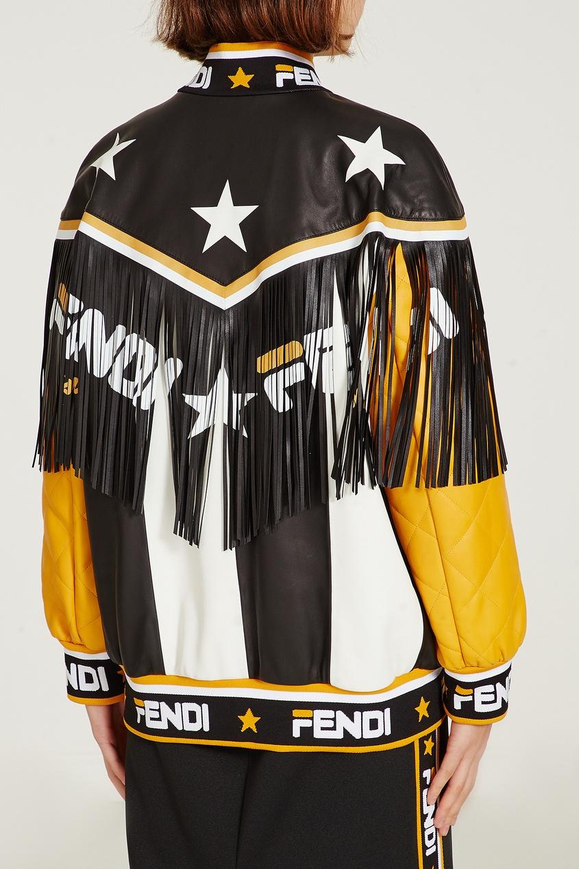 Фото 4 - Контрастная кожаная куртка с бахромой от Fendi цвет multicolor