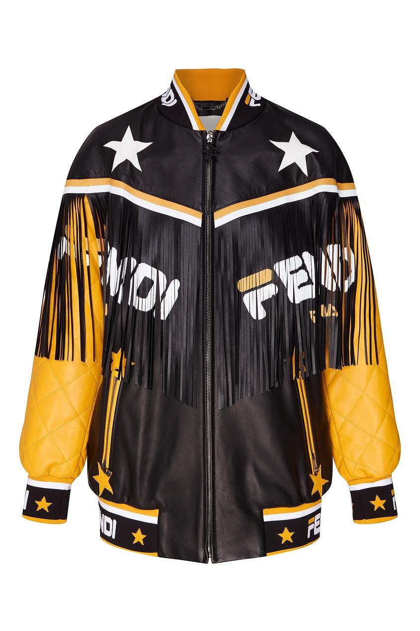 Фото - Контрастная кожаная куртка с бахромой от Fendi цвет multicolor