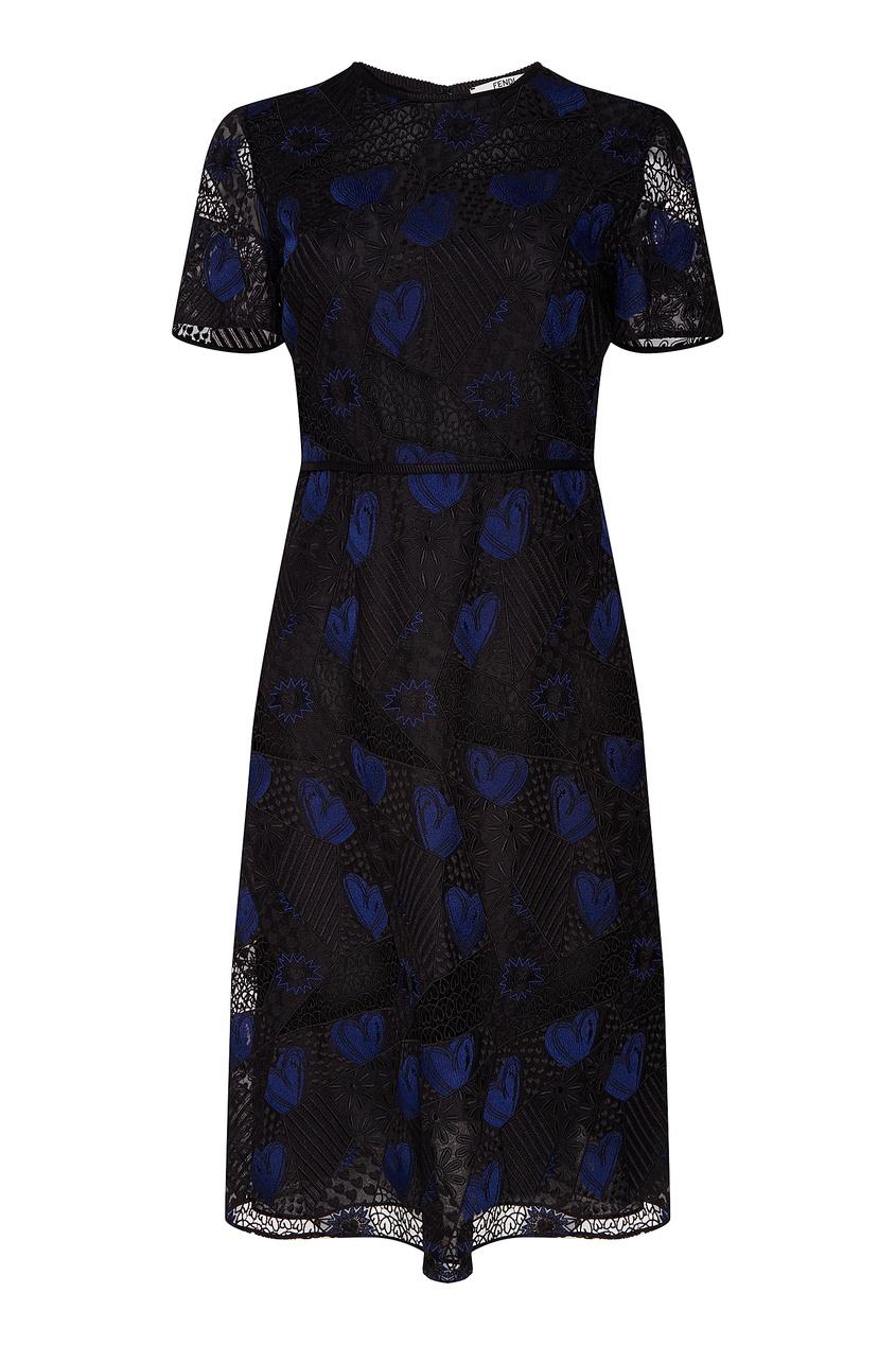 Купить Черное ажурное платье от Fendi цвет multicolor