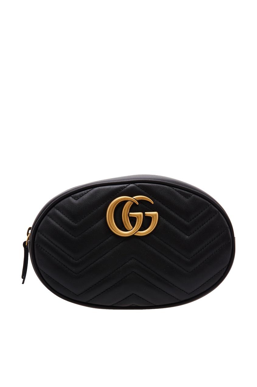 Черная овальная сумка на пояс GG Marmont Gucci