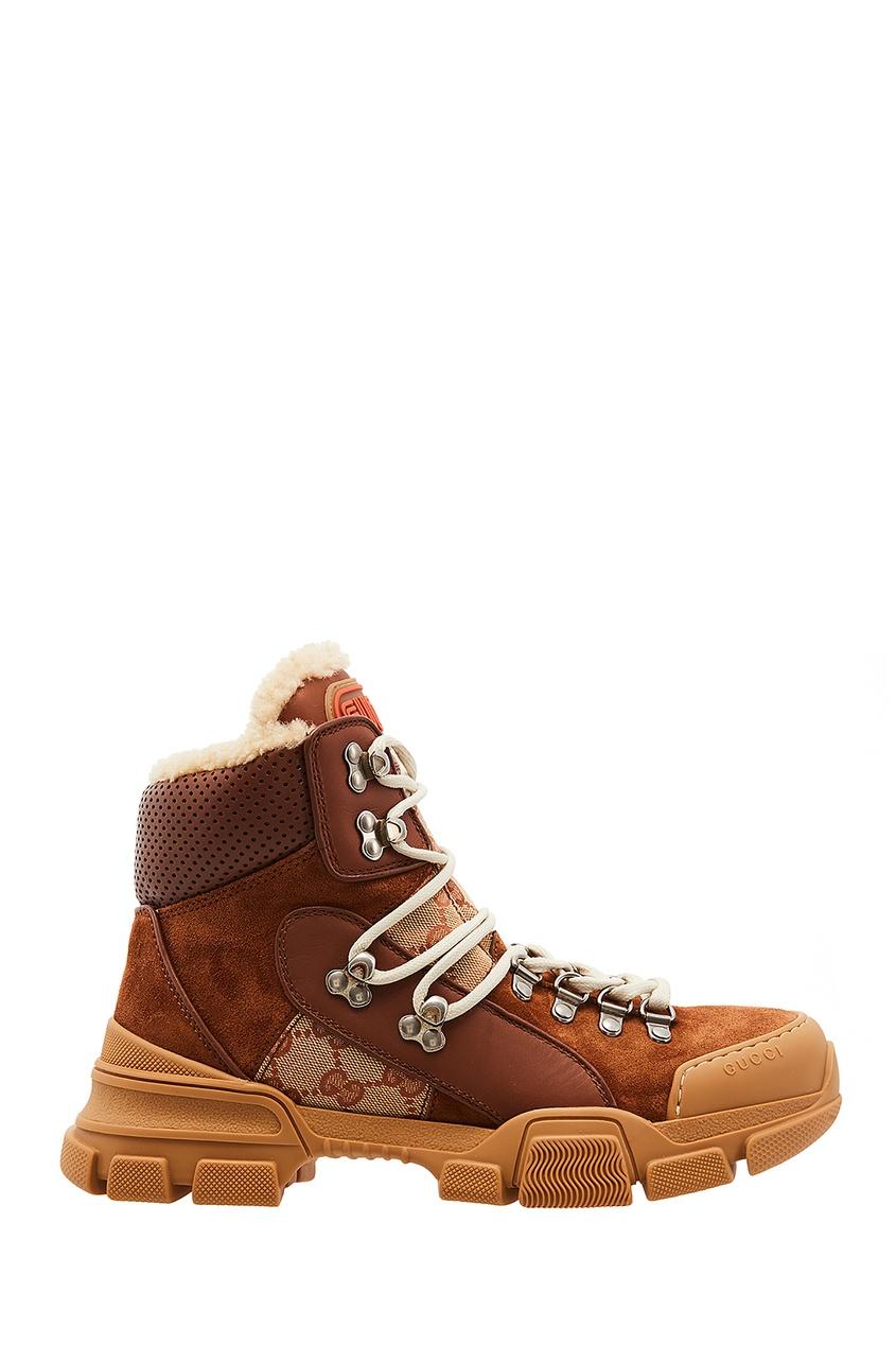 Купить Коричневые хайтопы Flashtrek GG от Gucci коричневого цвета