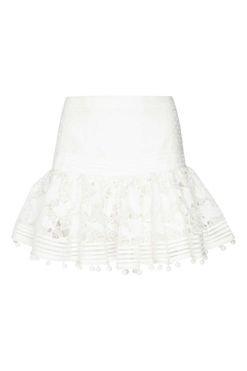 женская юбка мини zimmermann, белая