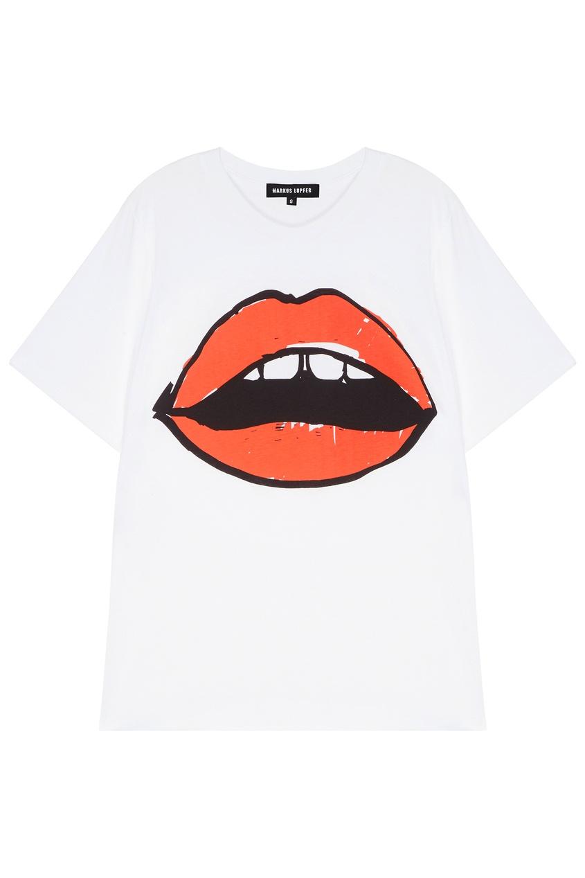 женская футболка markus lupfer, красная