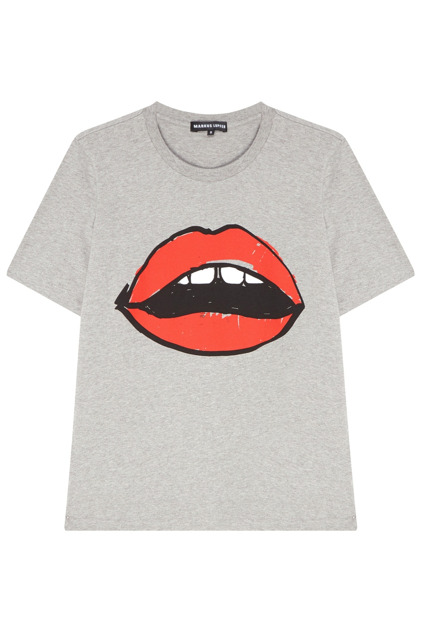 Купить Серая футболка с принтом в виде губ от Markus Lupfer серого цвета