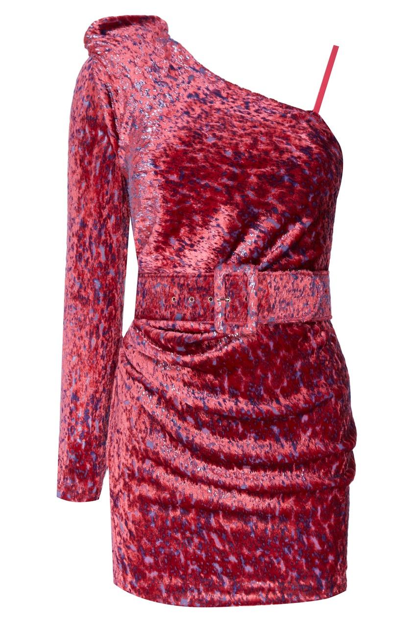 Розовое бархатное платье с поясом Alexandr Rogov 234105506 розовый фото
