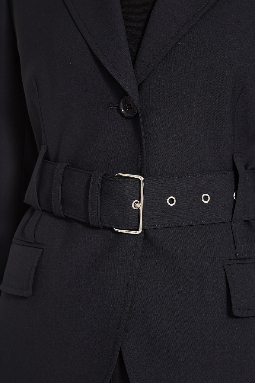 Prada / Черный шерстяной жакет с поясом
