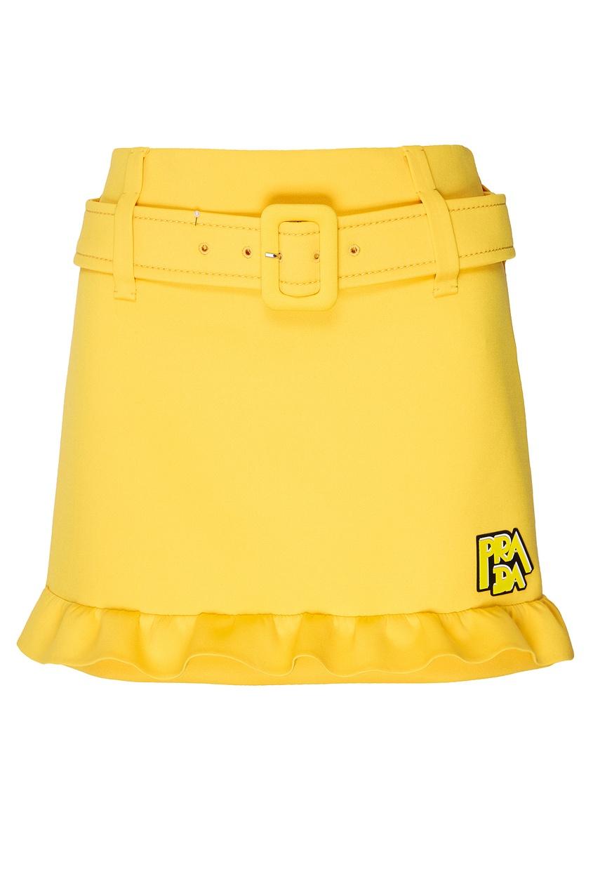Желтая мини-юбка с поясом PRADA