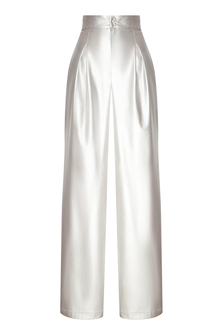 Купить со скидкой Широкие брюки серебристого цвета