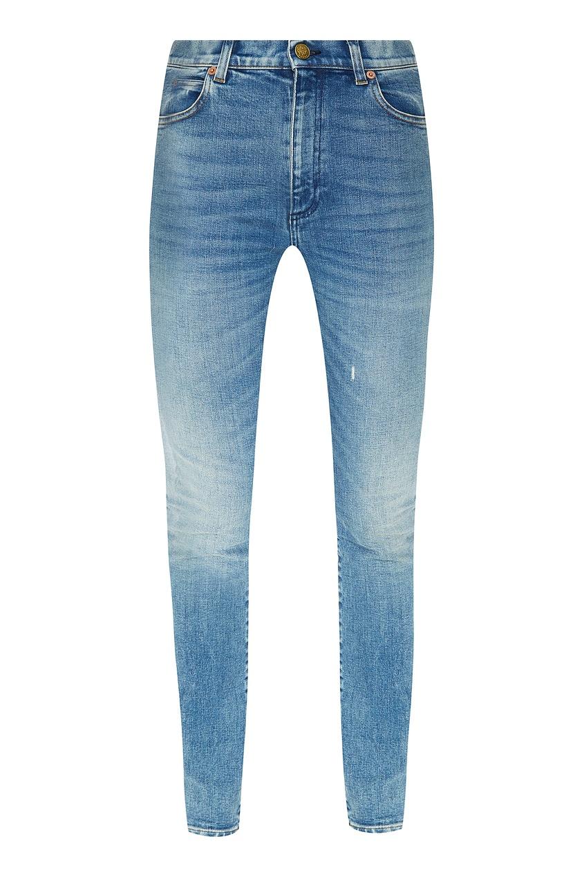 Голубые джинсы скинни с патчами