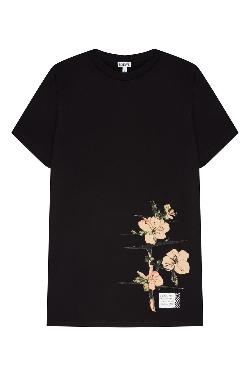 Черная футболка с цветами