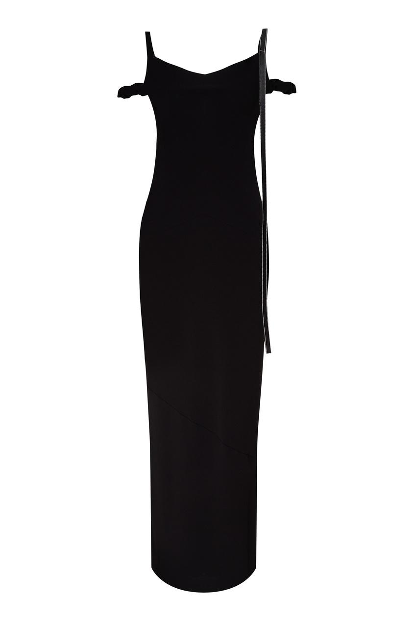 Черное платье с кожаной отделкой