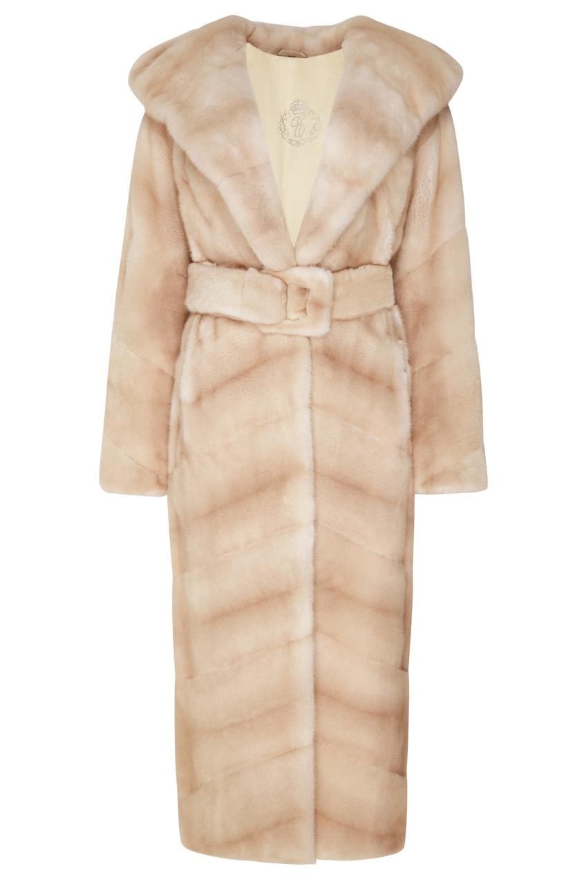 Норковое пальто с капюшоном и поясом Меха Екатерина