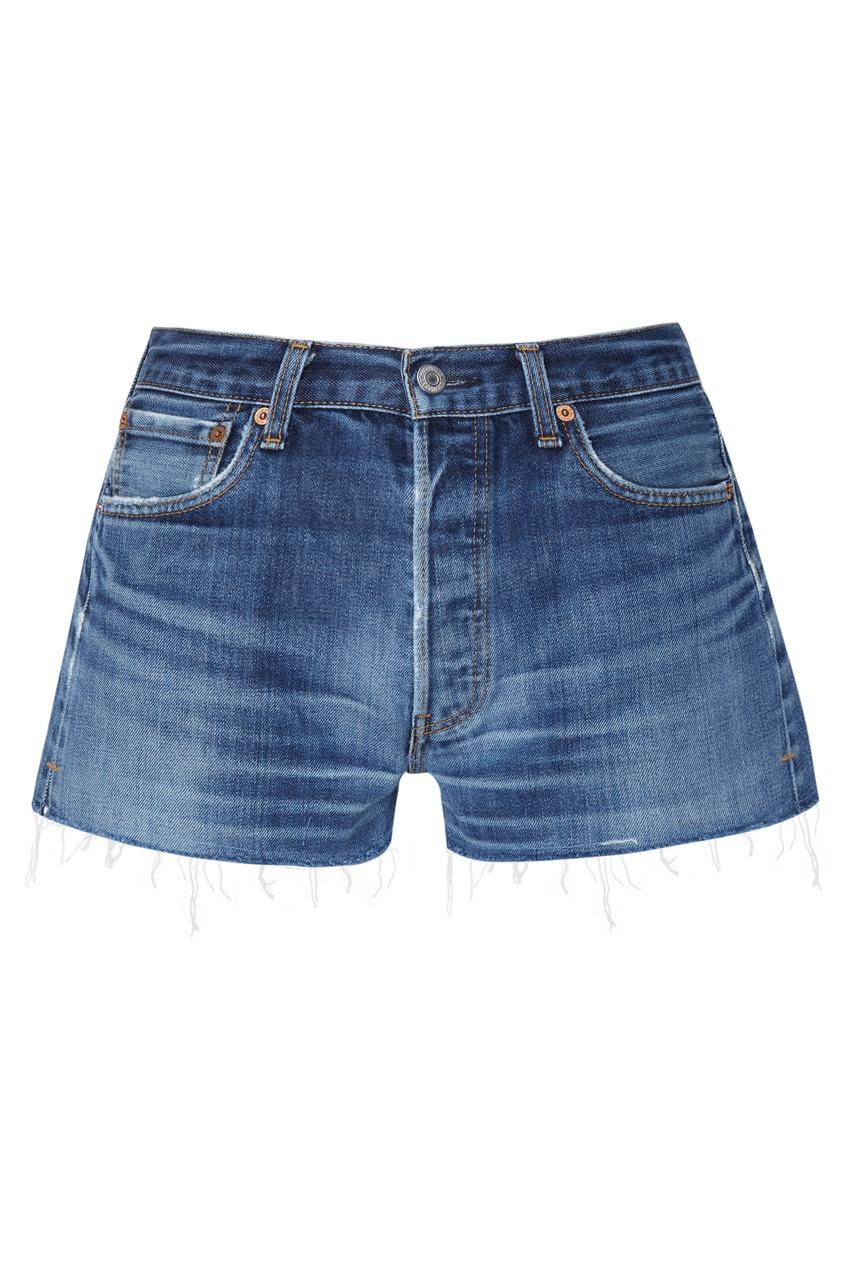 Синие джинсовые шорты с потертостями Re/Done