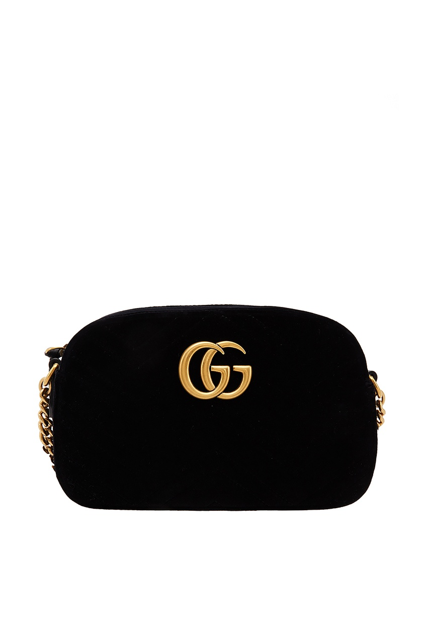 Черная бархатная сумка GG Marmont Gucci