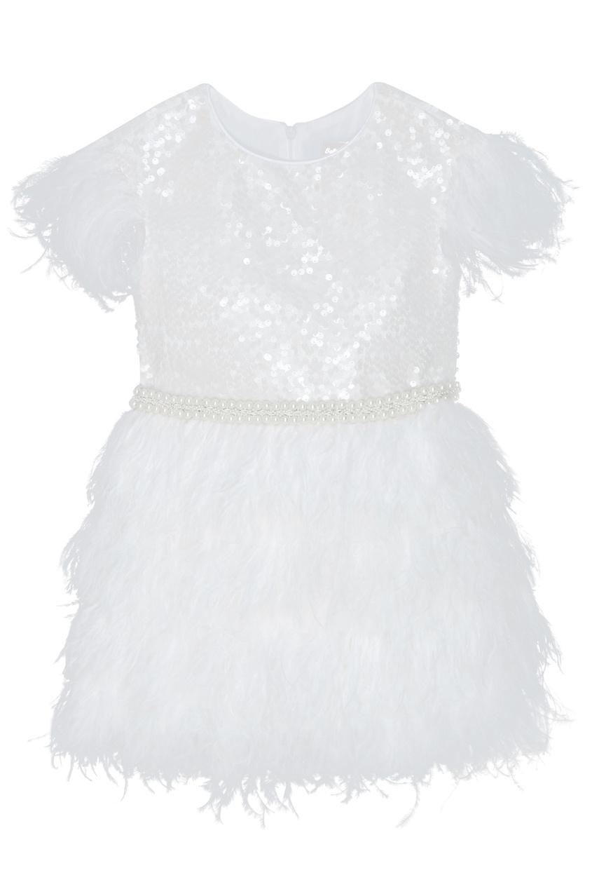Белое платье с перьями и пайетками White Princess Balloon and Butterfly