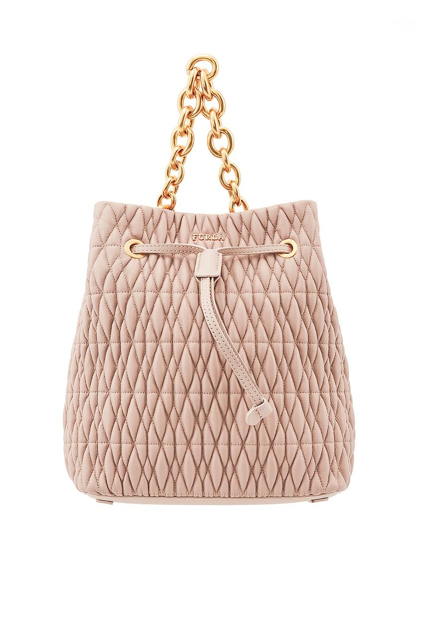 Бежевая стеганая сумка-торба Stacy Cometa Furla