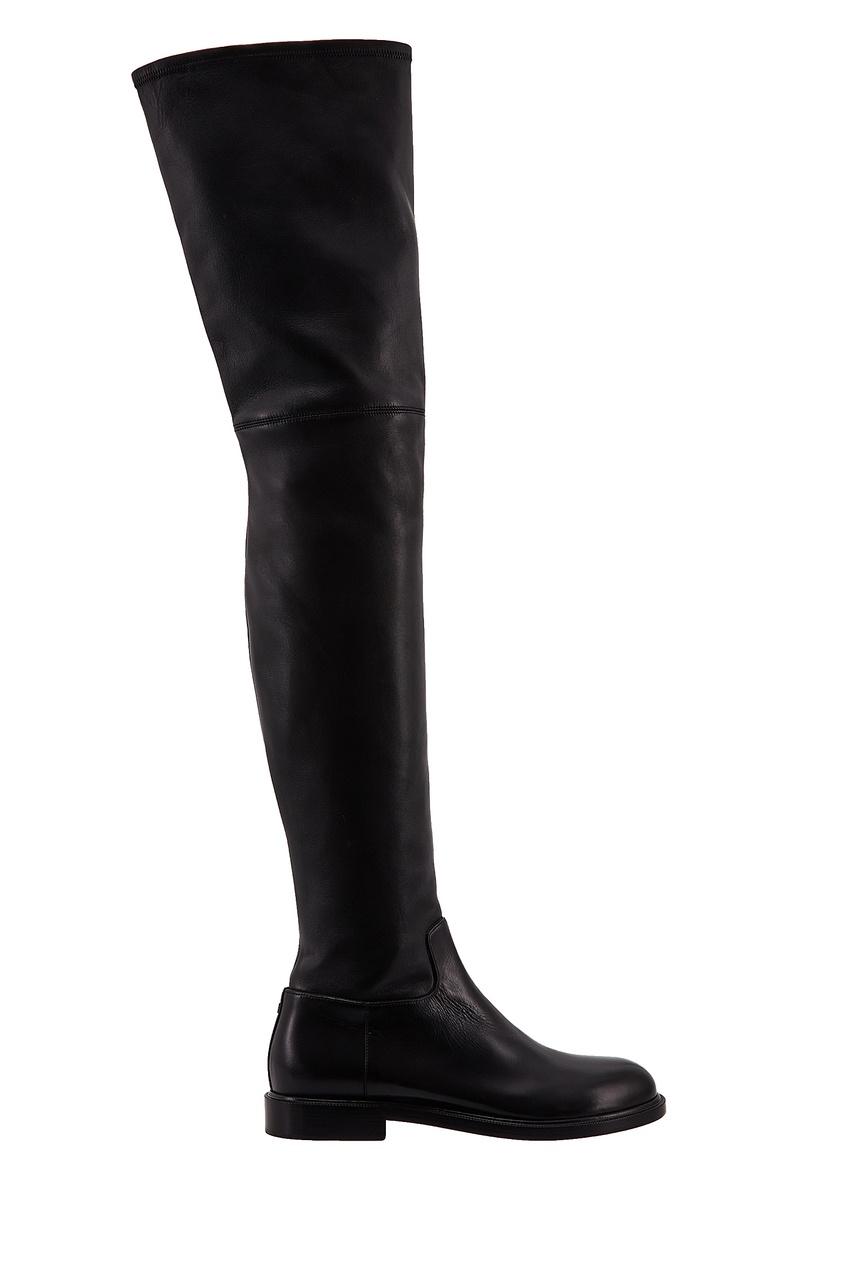 Черные кожаные ботфорты VALENTINO