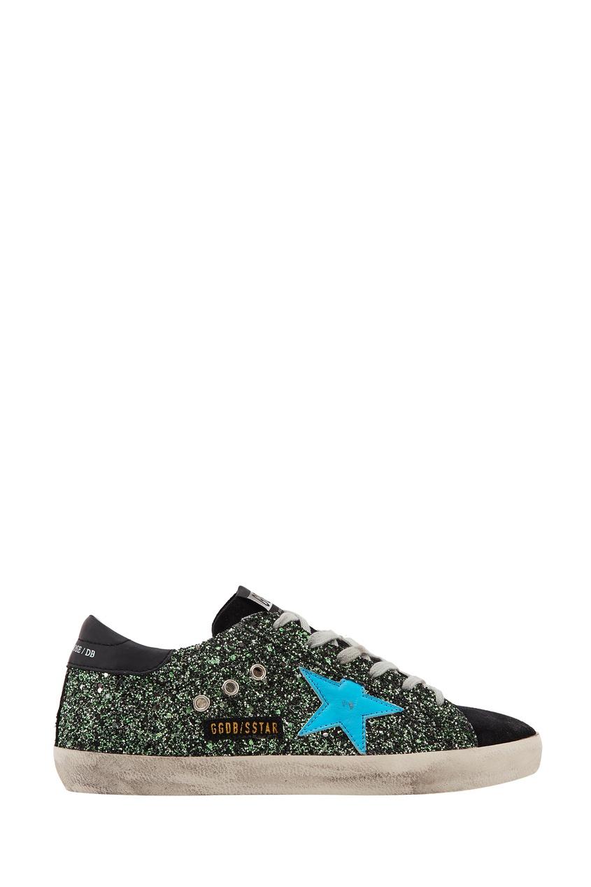 Зеленые кроссовки с глиттером SuperStar Golden Goose Deluxe Brand